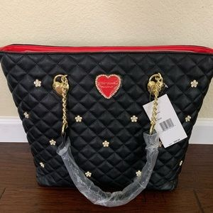 Betsey Johnson tote, red heart, flower details